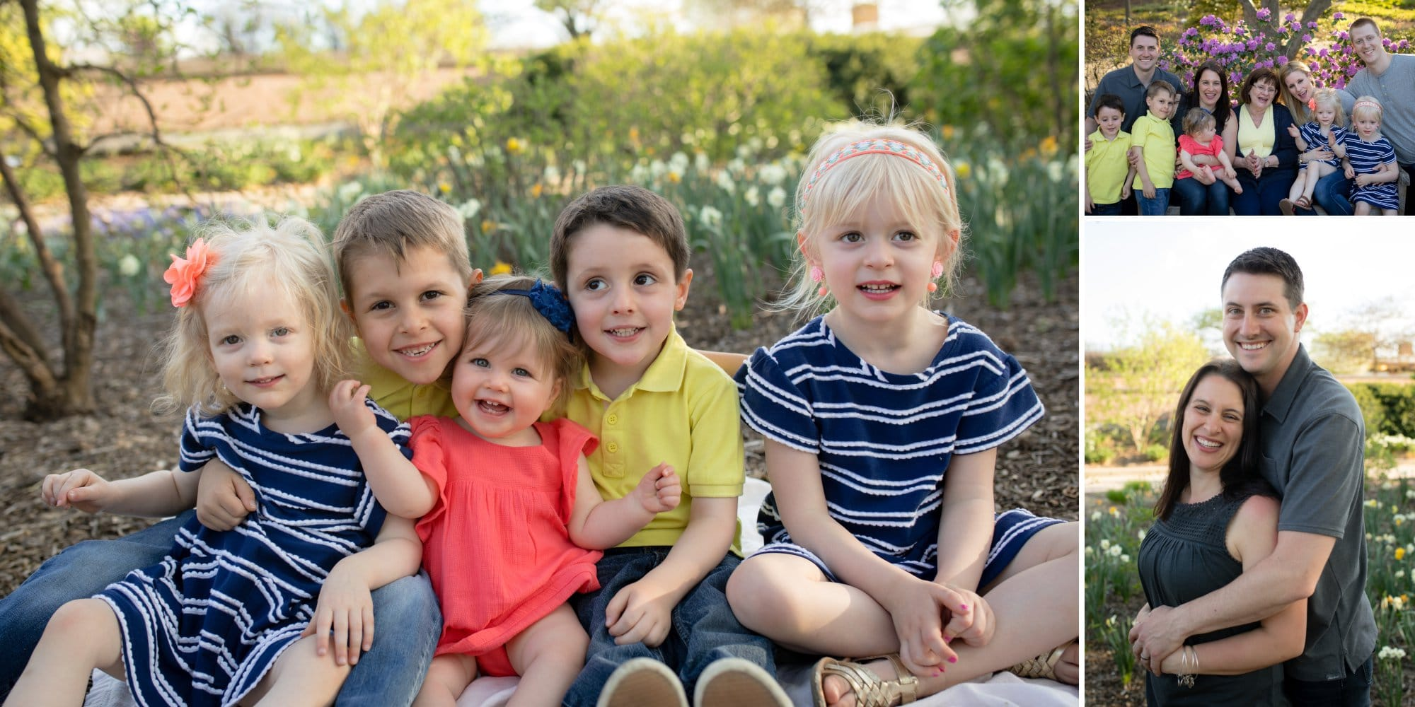 Grandkids in bright spring colors at Lilacia Park in Lombard