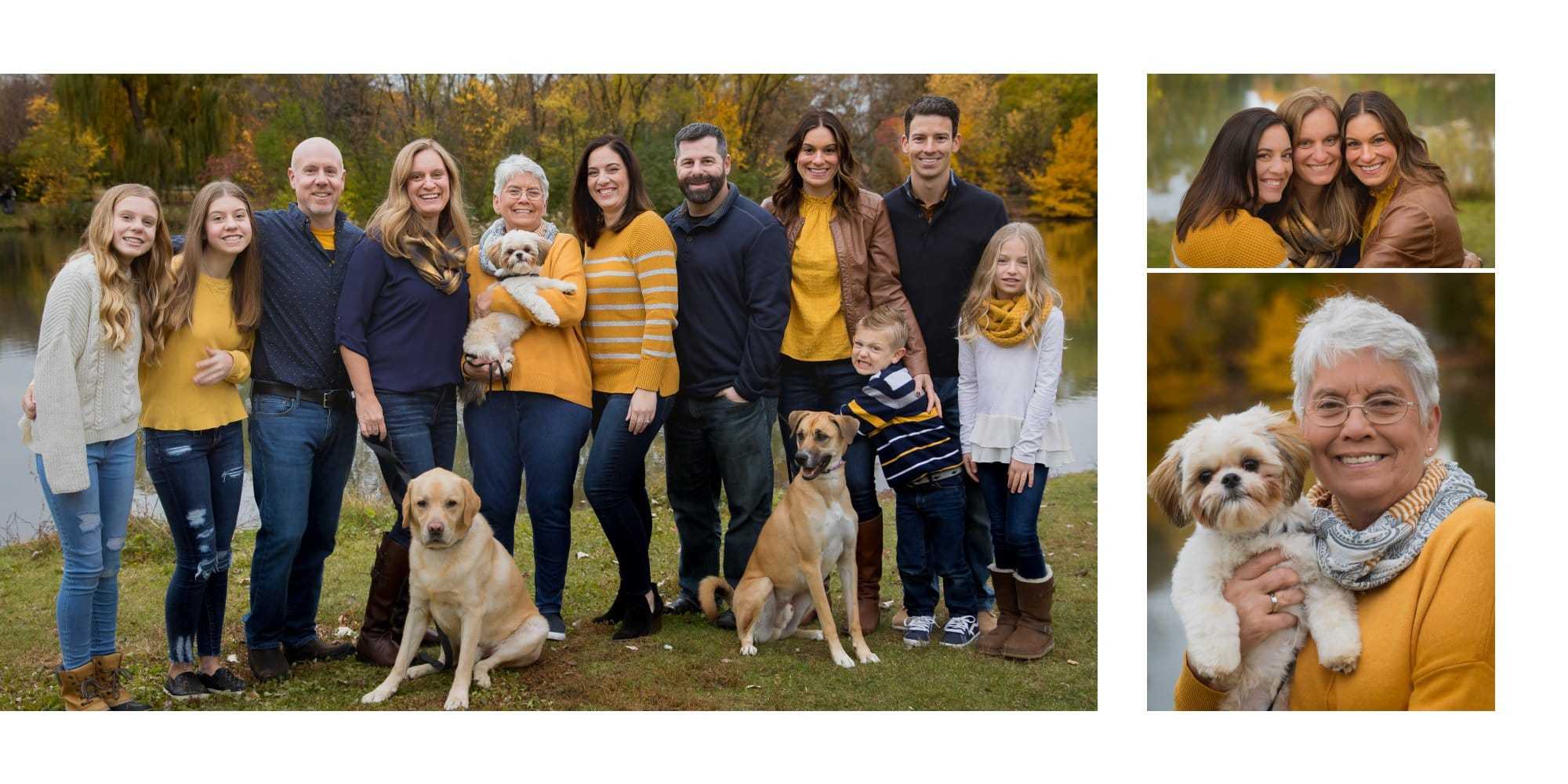 Extended Family pictures with 3 dogs in Elmhurst
